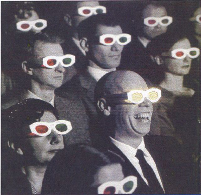 Happy people watching 3d movie